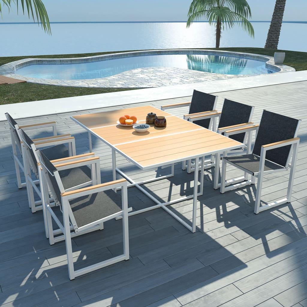 vidaXL Set mobilier de exterior, 7 piese, cu blat din WPC și aluminiu