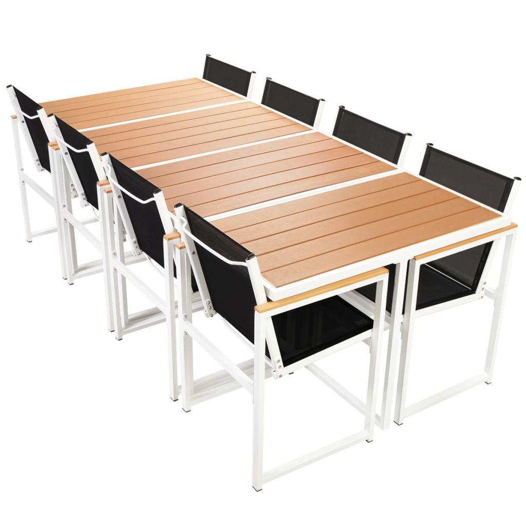 Set mobilier de exterior, 9 piese, cu blat din WPC și aluminiu