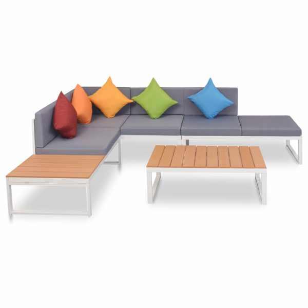 vidaXL Set mobilier de grădină cu perne, 4 piese, aluminiu și WPC