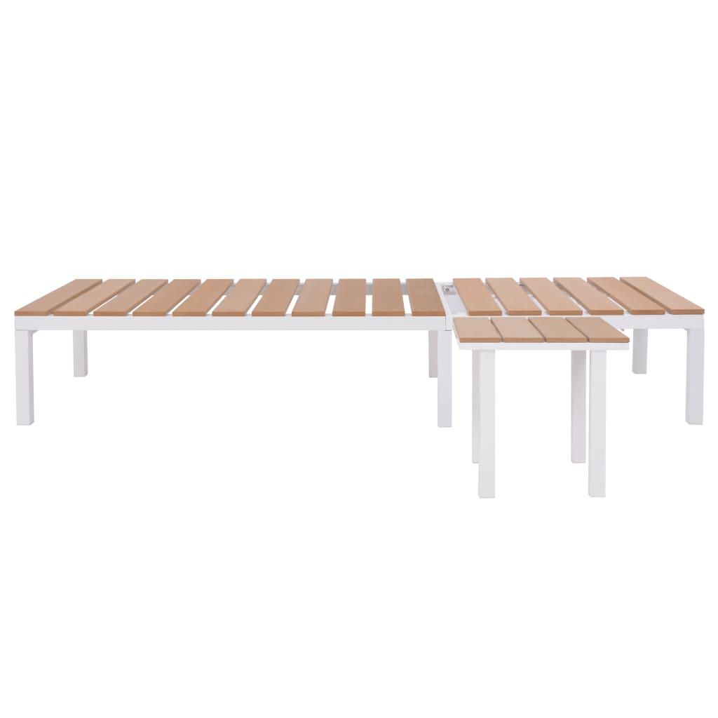 vidaXL Șezlong de plajă cu masă, alb și maro, aluminiu și WPC