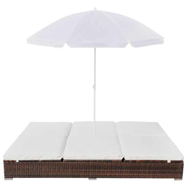 Pat șezlong de exterior cu umbrelă, maro, poliratan