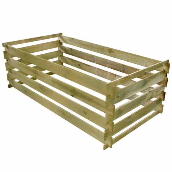 vidaXL Compostor cu stinghii, 160 x 80 x 58 cm, lemn de pin tratat