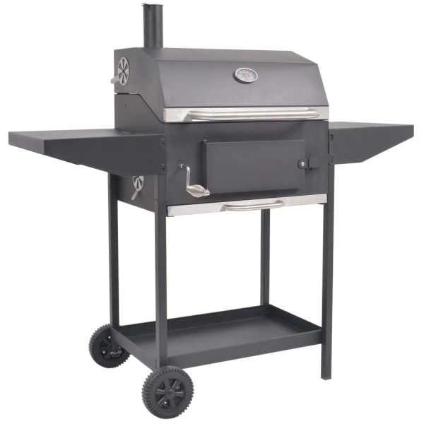 vidaXL Grătar barbecue cu cărbuni, afumătoare și raft jos, negru