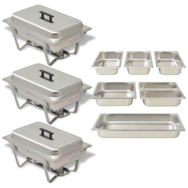 vidaXL Set vase încălzire mâncare, 3 piese, oțel inoxidabil