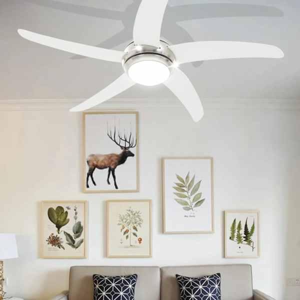 vidaXL Ventilator tavan decorativ cu iluminare, 128 cm, alb