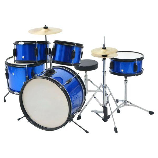 vidaXL Set complet tobe junior din oțel acoperit cu pulbere, albastru
