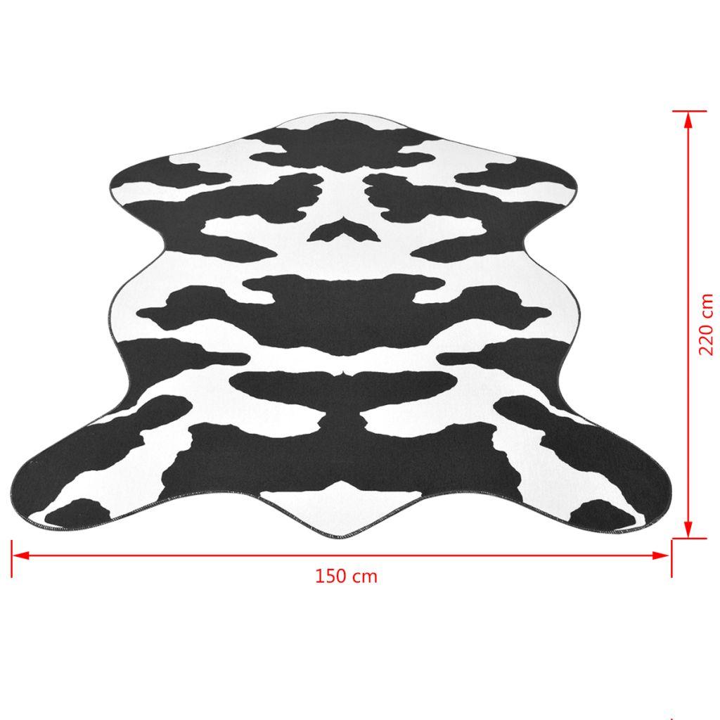 Covor formă văcuță, imprimeu văcuță 150 x 220 cm, negru