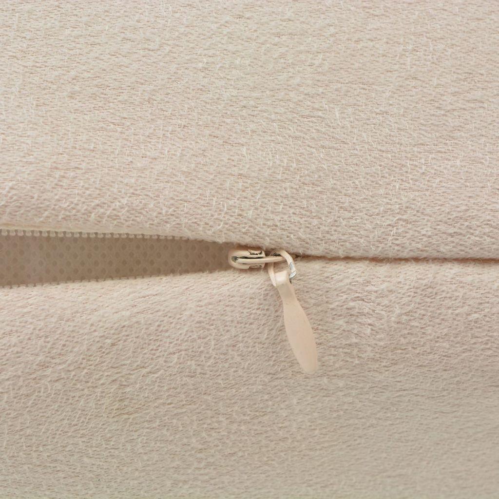Huse de pernă din velur poliester, 50 x 50 cm, bej, 4 buc.