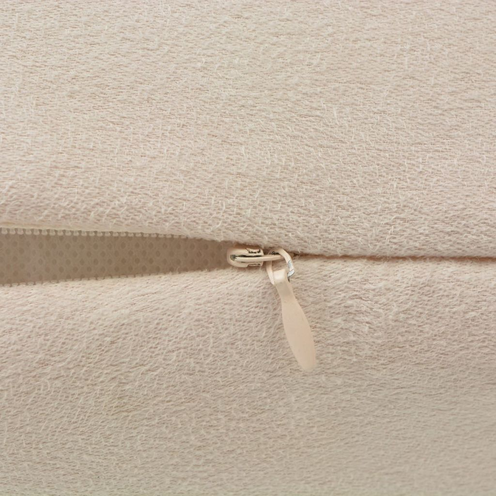 Huse de pernă din velur poliester, 80 x 80 cm, bej, 4 buc.