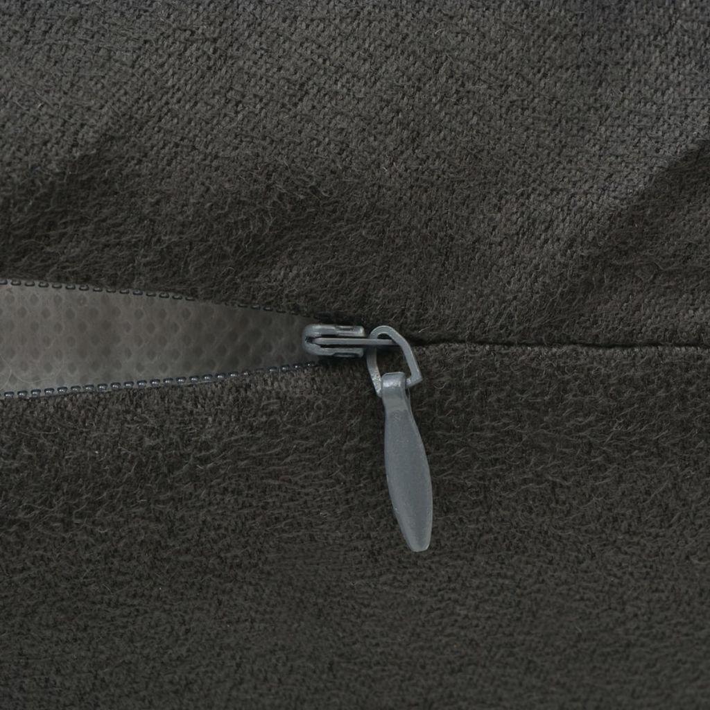 Huse de pernă din velur poliester, 80 x 80 cm, antracit, 4 buc.
