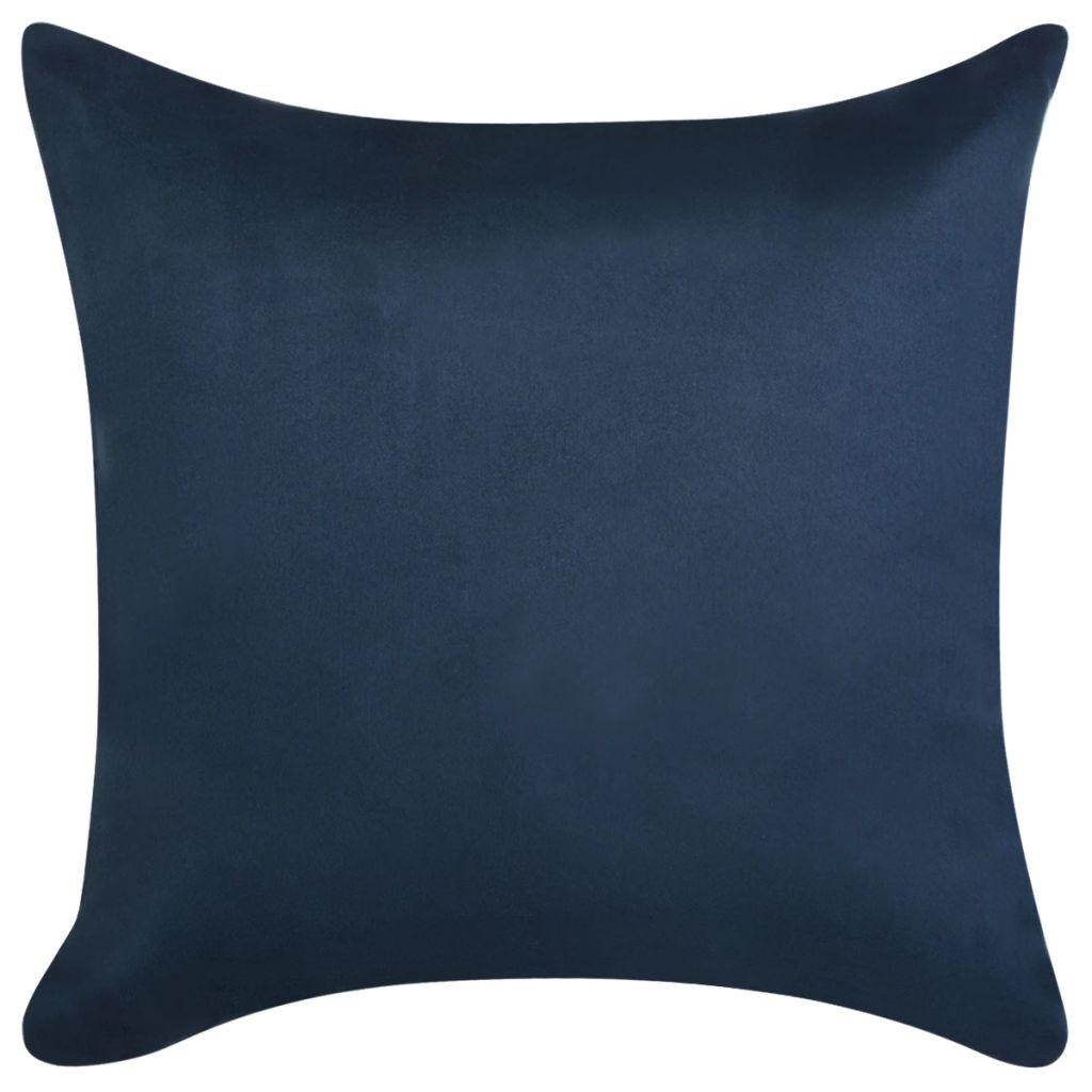 Huse de pernă din velur poliester, 40×40 cm, bleumarin, 4 buc.