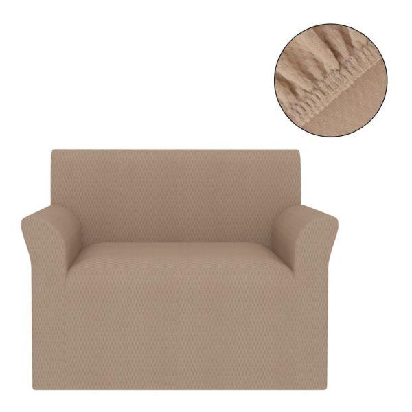 vidaXL Husă elastică pentru canapea, textură striată, bej