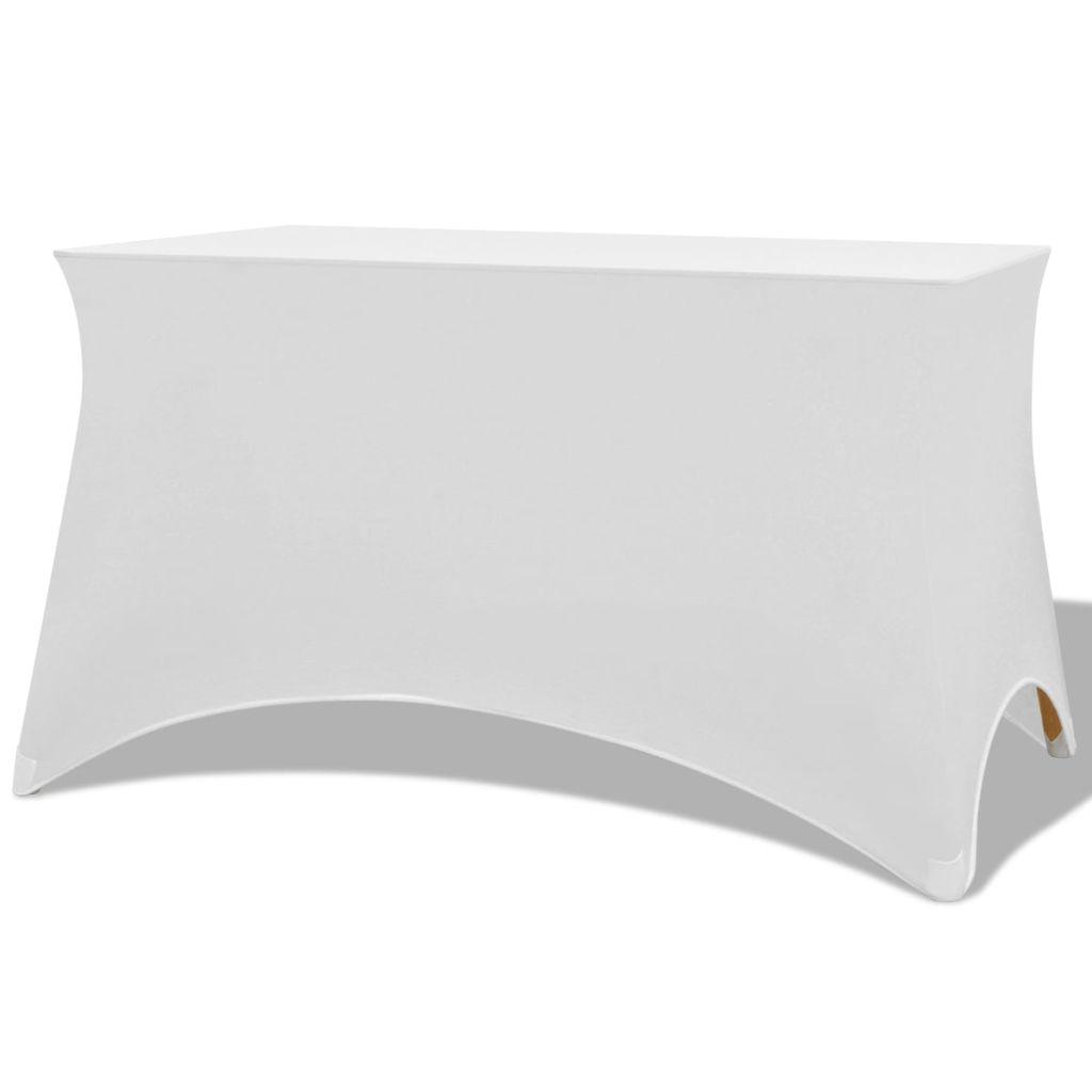 vidaXL Huse elastice pentru masă, 120 x 60,5 x 74 cm , alb, 2 buc.