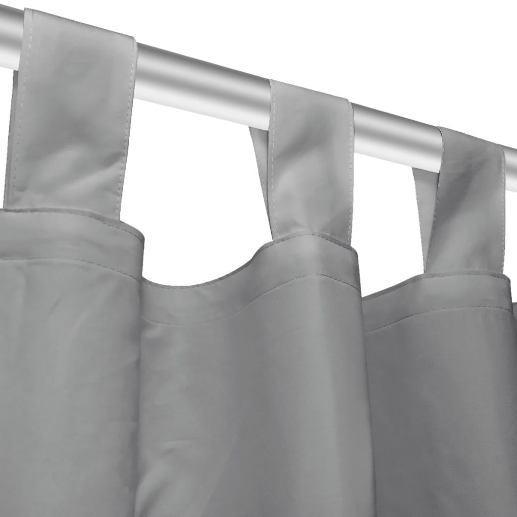 vidaXL Draperii micro-satin cu bride, 2 buc, 140 x 175 cm, gri