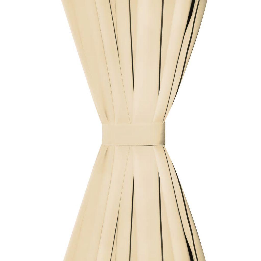 vidaXL Draperii micro-satin cu bride, 2 buc, 140 x 225 cm, bej