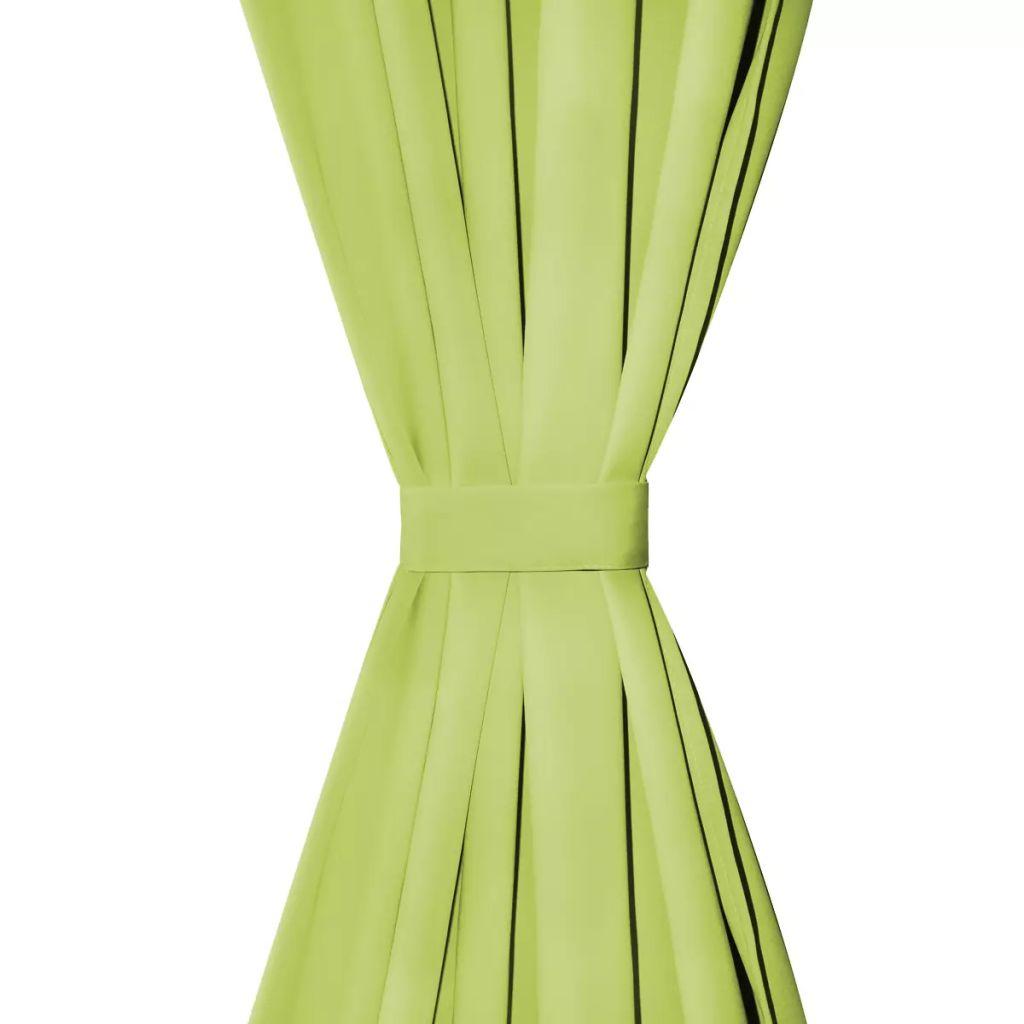 Draperii micro-satin cu bride, 2 buc, 140 x 175 cm, verde