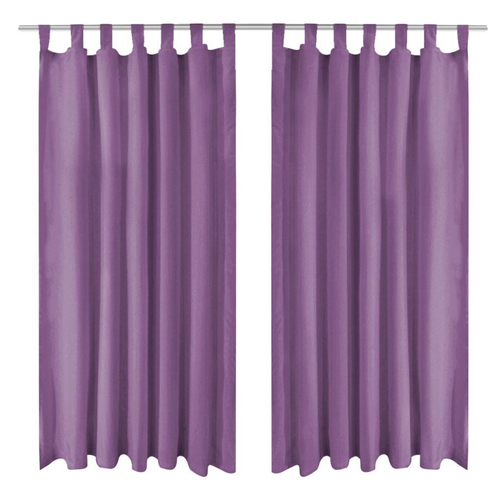 vidaXL Draperii micro-satin cu bride, 2 buc, 140 x 225 cm, violet