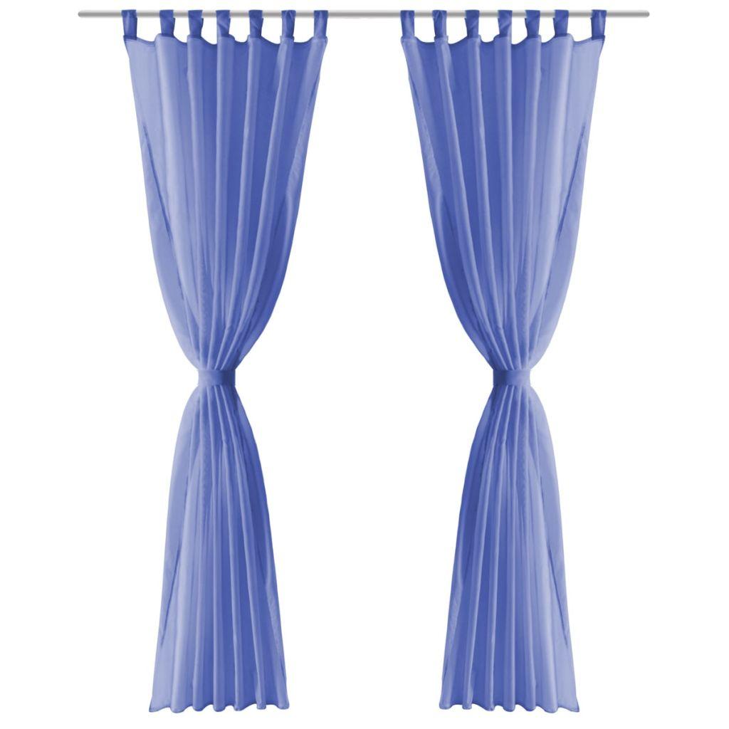 Draperii din voal, 2 buc., 140 x 225 cm, albastru regal