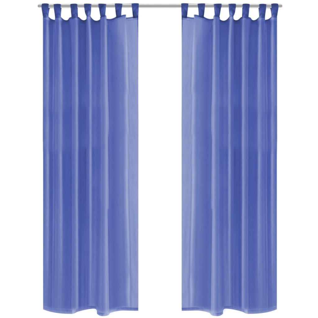 vidaXL Draperii din voal, 2 buc., 140 x 245 cm, albastru regal