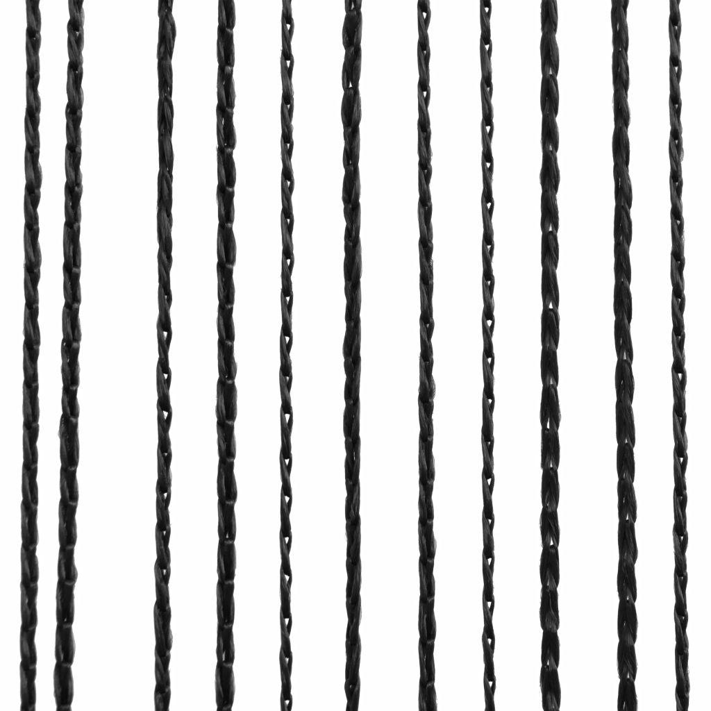 Draperii cu franjuri, 2 buc., 140 x 250 cm, negru