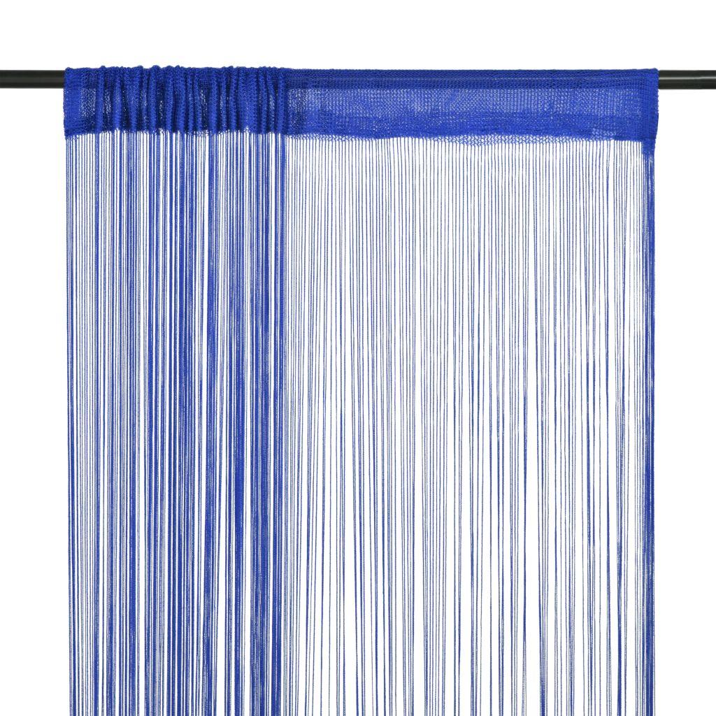 vidaXL Draperii cu franjuri, 2 buc., 100 x 250 cm, albastru