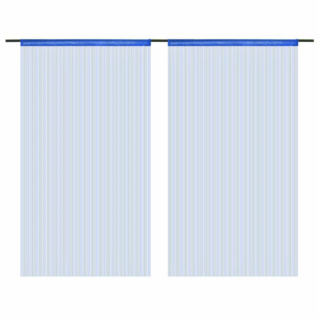 Draperii cu franjuri, 2 buc., 100 x 250 cm, albastru