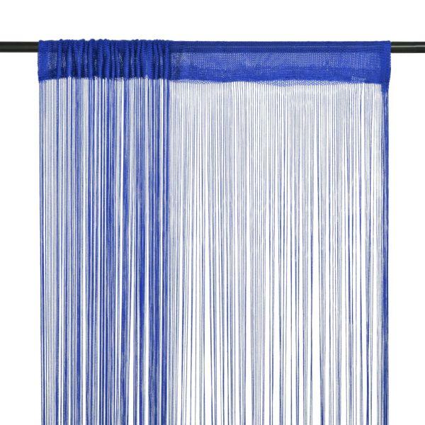 vidaXL Draperii cu franjuri, 2 buc., 140 x 250 cm, albastru