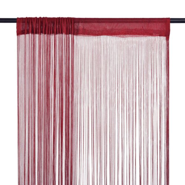vidaXL Draperii cu franjuri, 2 buc., 100 x 250 cm, roșu burgund