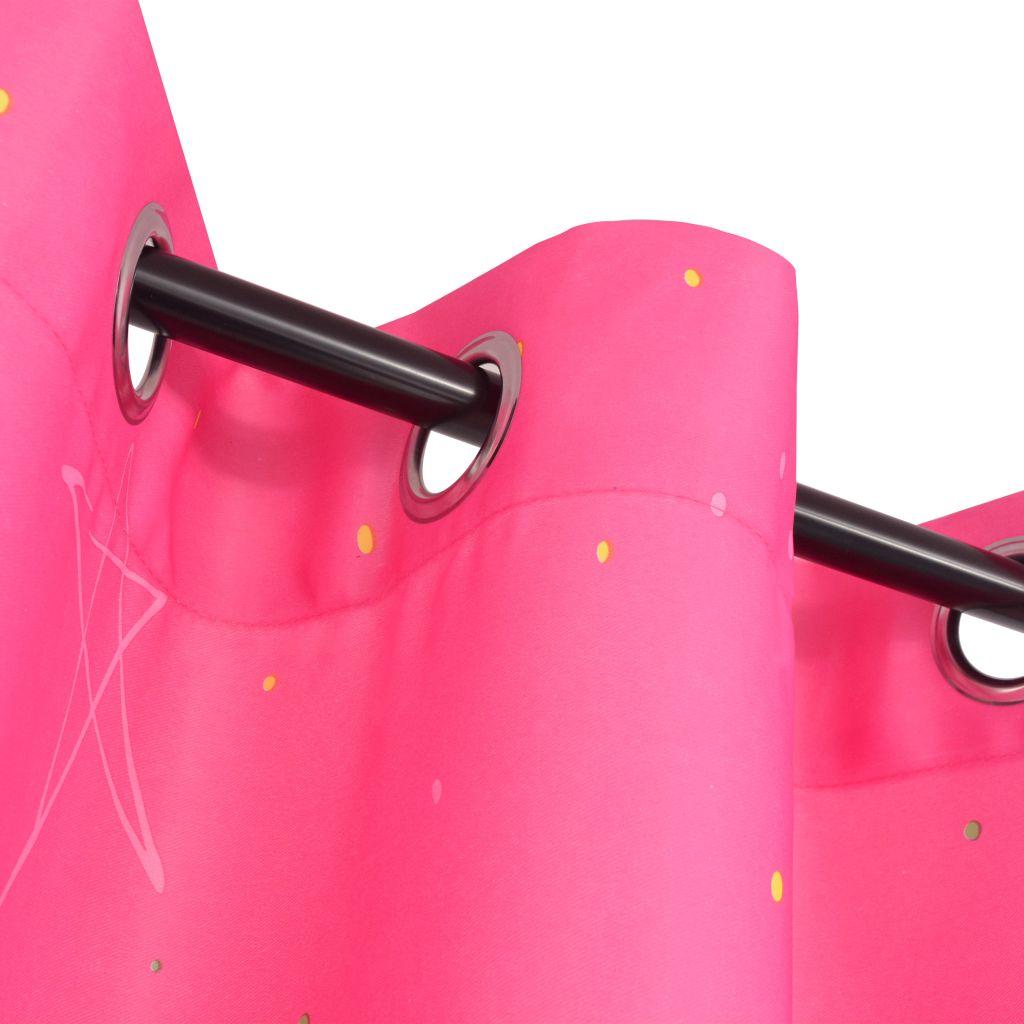 Draperii opace pentru camera copiilor, 2 buc, 140×240 cm, roz