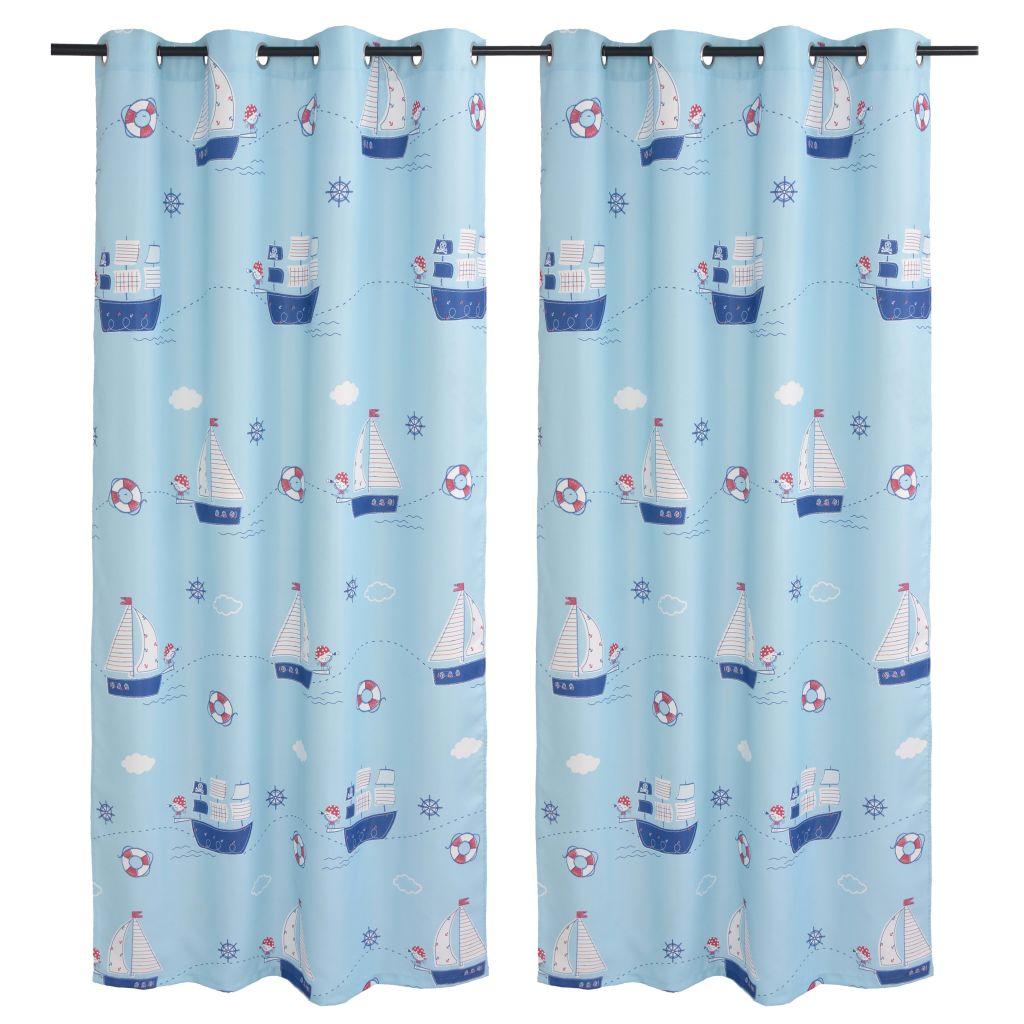 vidaXL Draperii opace camera copiilor, 2 buc, 140 x 240 cm, albastru