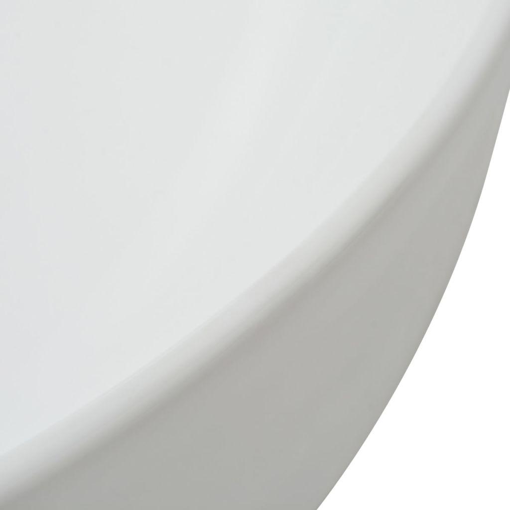 vidaXL Chiuvetă de baie din ceramică, rotundă, 41,5 x 13,5 cm, alb