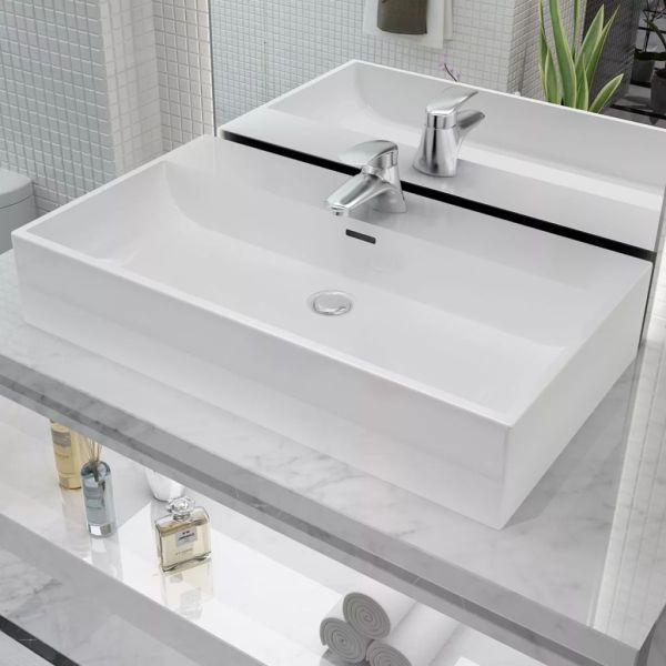 vidaXL Chiuvetă baie, orificiu robinet, ceramică, 76×42,5×14,5 cm, alb