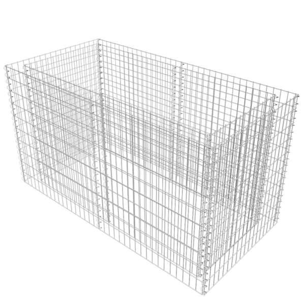 vidaXL Strat înălțat gabion, argintiu, 180 x 90 x 100 cm, oțel