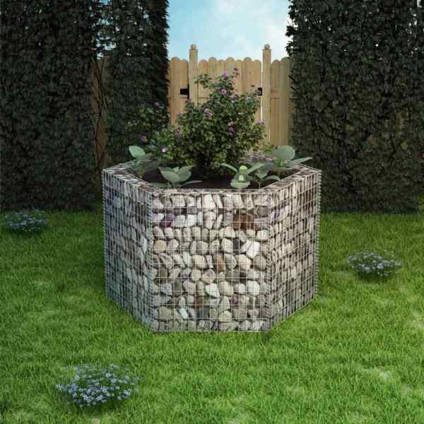 vidaXL Strat înălțat gabion hexagonal, 160 x 140 x 100 cm