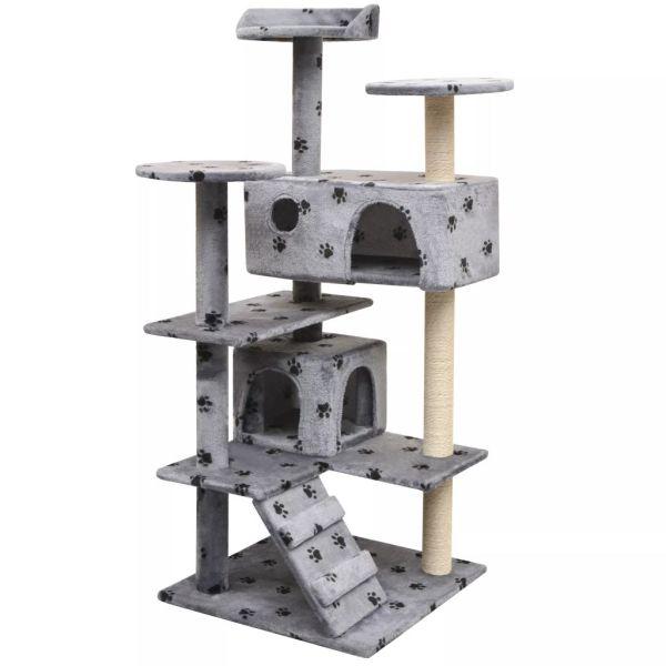 vidaXL Ansamblu pisici cu funie de sisal, 125 cm, imprimeu lăbuțe, gri