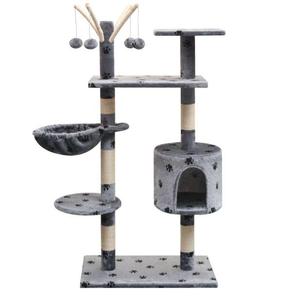 vidaXL Ansamblu pisici, funie de sisal, 125 cm, imprimeu lăbuțe, gri