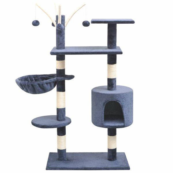 vidaXL Ansamblu pisici, stâlpi cu funie sisal, 125 cm, albastru închis