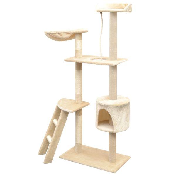 Ansamblu pentru pisici, stâlpi cu funie de sisal, 150 cm, bej