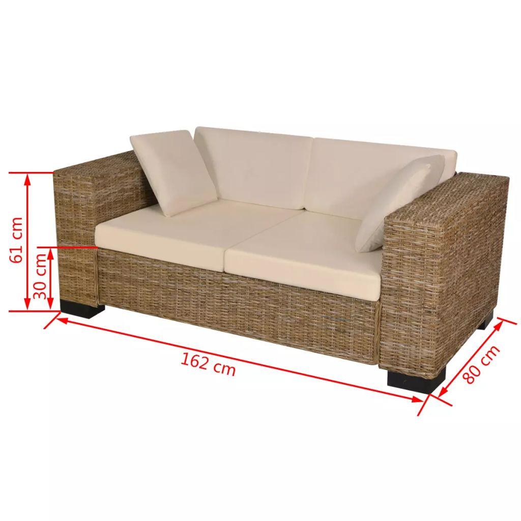 Set canapea de 2 locuri din poliratan 7 piese