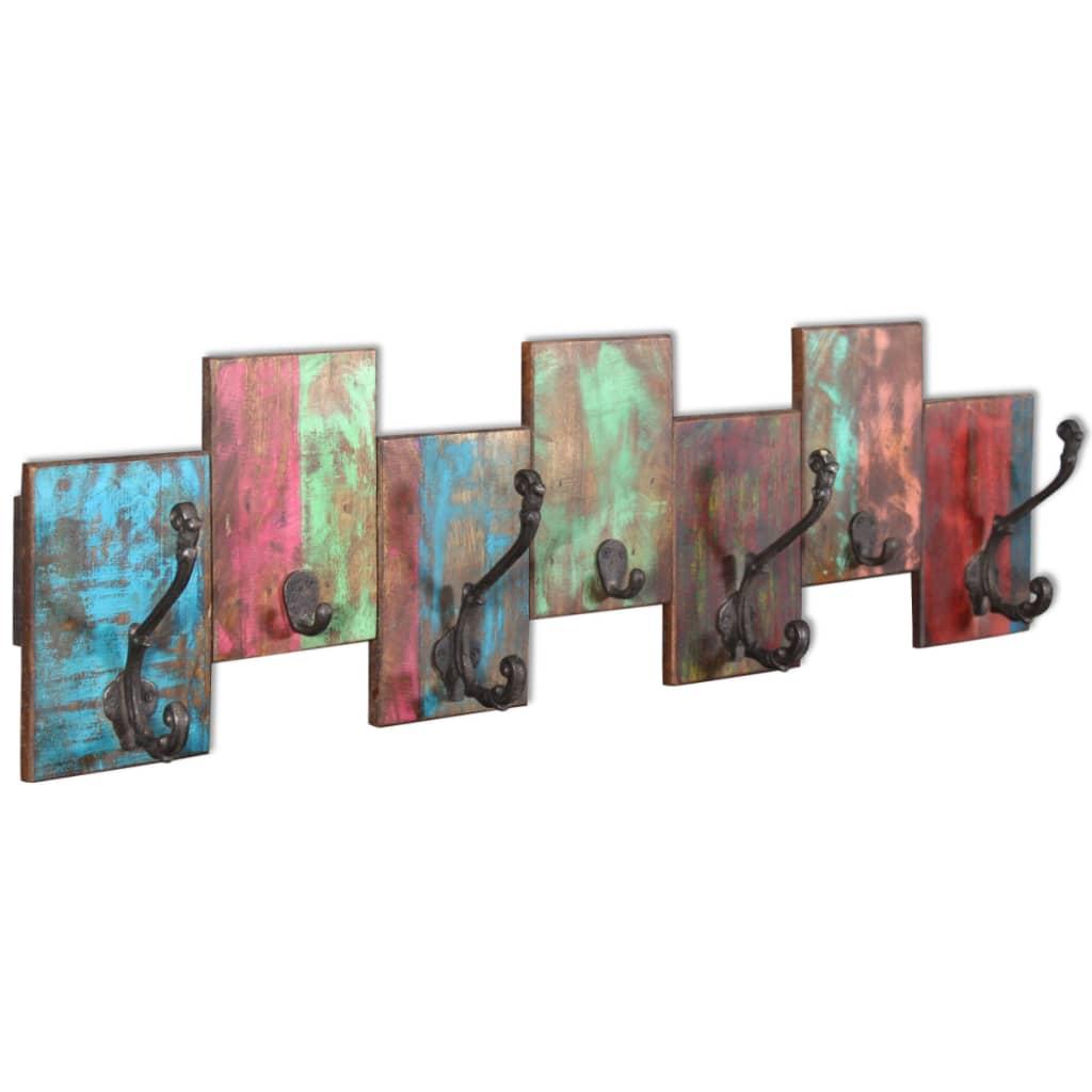vidaXL Cuier cu 7 cârlige din lemn reciclat de esență tare