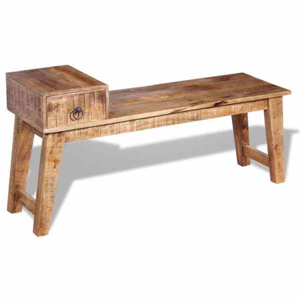 Bancă cu sertar lemn solid de mango, 120 x 36 x 60 cm