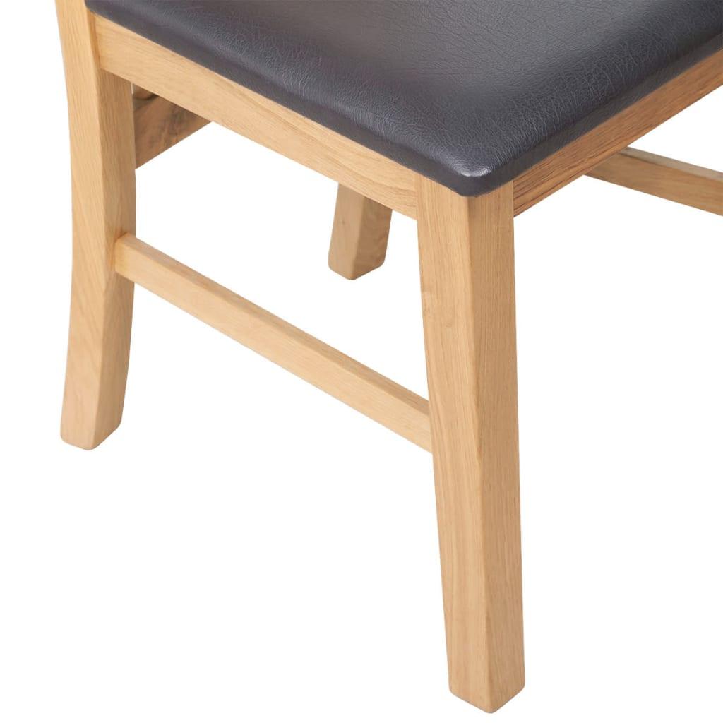 vidaXL Scaune de bucătărie 2 buc, lemn masiv stejar & piele ecologică
