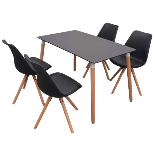 Set cu masă și scaune de bucătărie, cinci piese, negru