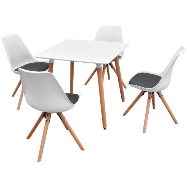 Set masă și scaune de bucătărie, 5 piese, alb și negru