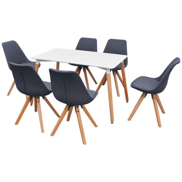 Set masă și scaune de bucătărie, alb și gri închis, 7 piese