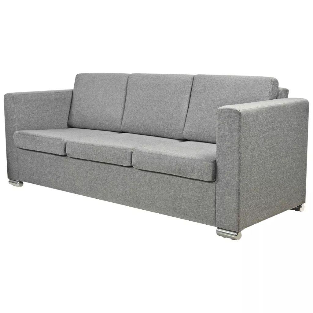 Canapea cu 3 locuri, gri deschis, material textil