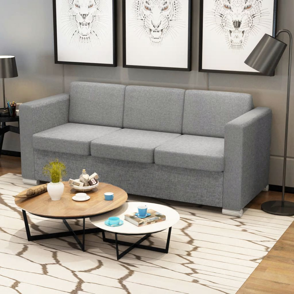 vidaXL Canapea cu 3 locuri, gri deschis, material textil