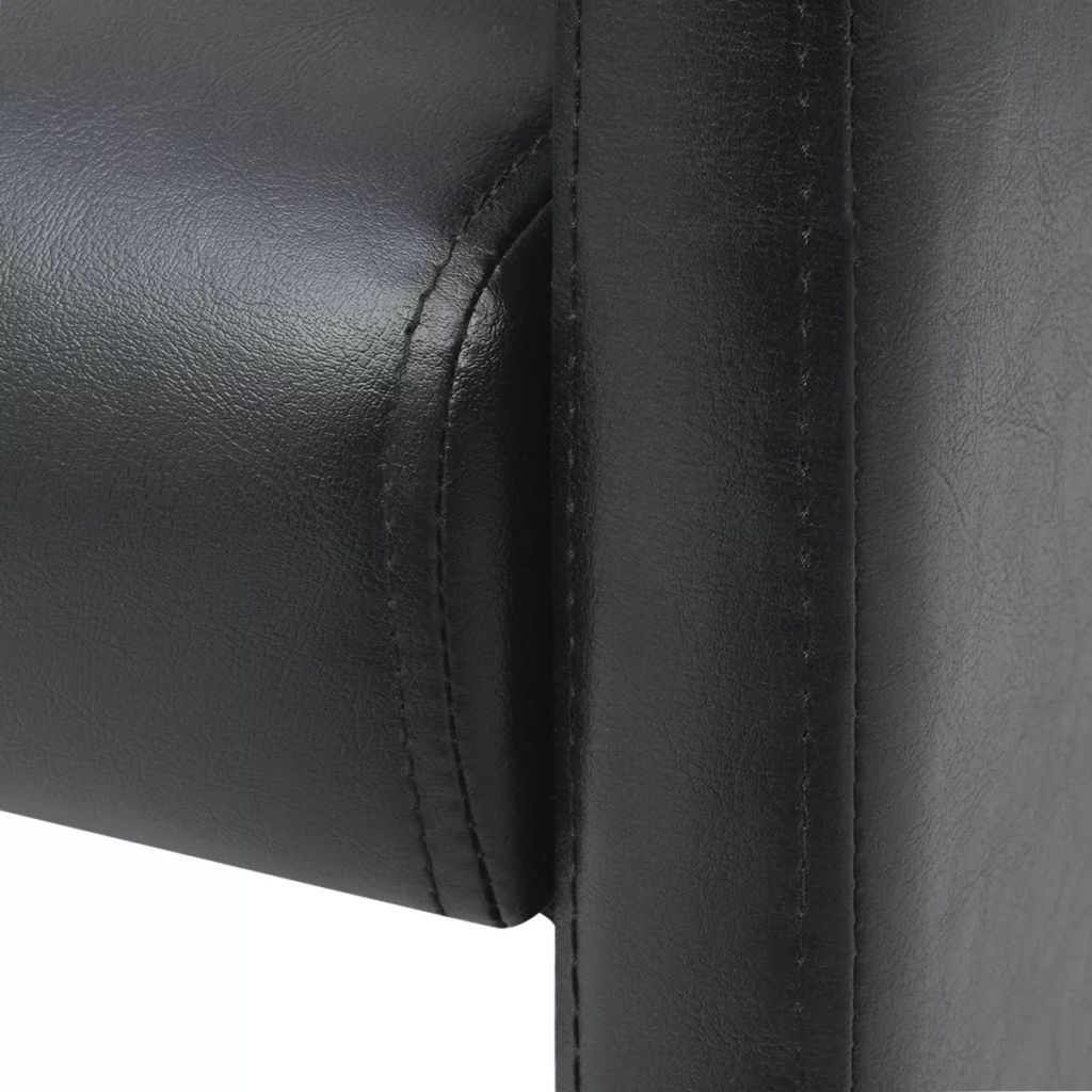 Scaune de bucătărie, 2 buc., negru, piele ecologică