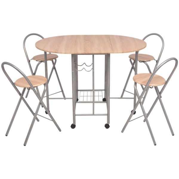 Set masă și scaune de bucătărie pliabile din MDF, 5 piese