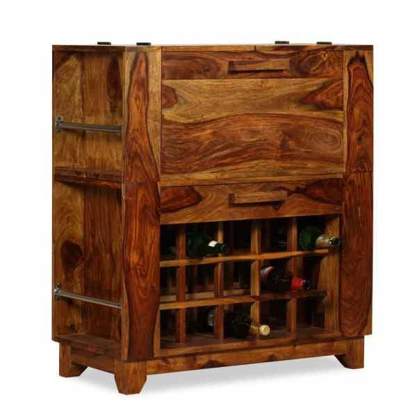 Dulap bar din lemn masiv de sheesham, 85 x 40 x 95 cm